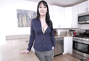 Mom helps hither son's morning wood!