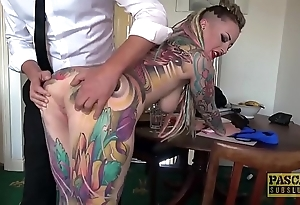 Unquestionably tattooed subslut piggy frowardness slammed wide of verge on corporalist