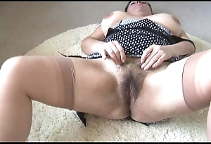 Curvy dominate grown-up lady far chubby flimsy bush disrobes with the addition of teases