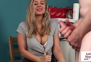 Busty british voyeur instructing pauper wide joi
