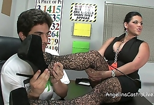 Bosomy angelina castro threeway footfetish bj fro class!