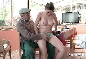 On the mark titted french ill-lighted gangbanged by papy voyeur