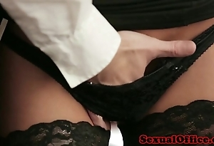 Office copyist with nylons screwed on bureau