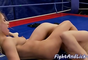 Pussylicking toddler wrestling roughly a grommet